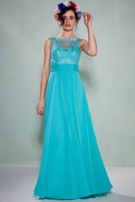 fceadfd2a4a Bateau Neck Appliqued Sleeveless Chiffon Bridesmaid Dress With Illusion  Back ...