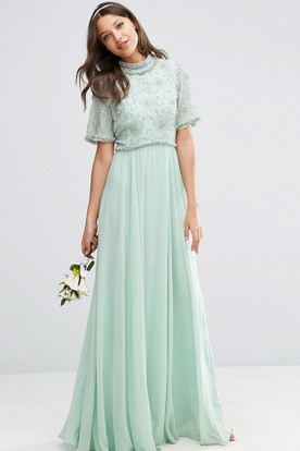 Floor Length Bell Sleeve High Neck Beaded Chiffon Bridesmaid Dress With Pleats