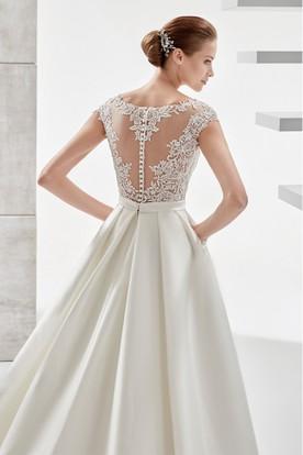 18fc0e308b6a7 ... Jewel-Neck A-Line Satin Wedding Dress With Illusive Design And Lace  Bodice