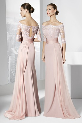 f1e4345de8 Sheath Half-Sleeve Off-The-Shoulder Appliqued Maxi Chiffon Prom Dress ...