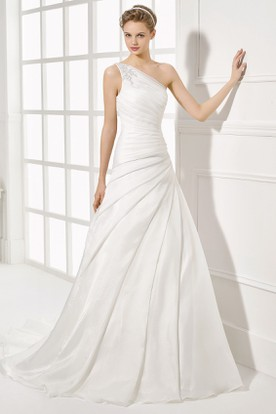 One shoulder wedding dresses asymmetric neckline gowns ucenter dress one shoulder long side draped chiffon wedding dress with court train and v back junglespirit Gallery