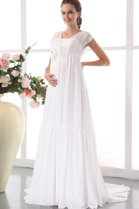 775fe8293bd ... Chic Pleated Soft Flowing Fabric Maternity Wedding Dress With Floral  Waistband