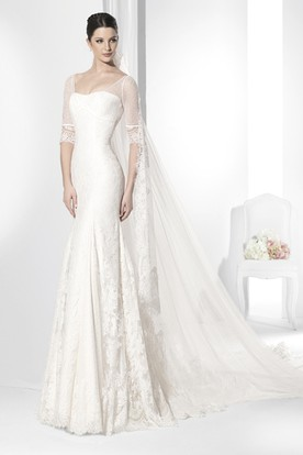 Sheath Strapless Illusion Sleeve Lace Wedding Dress With Keyhole