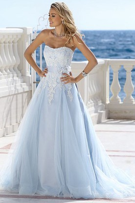 A Line Strapless Sleeveless Floor Length Liqued Tulle Wedding Dress With Flower