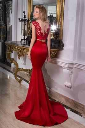8fe20d7d630 ... Trumpet Cap-Sleeve Scoop-Neck Floor-Length Lace Satin Prom Dress