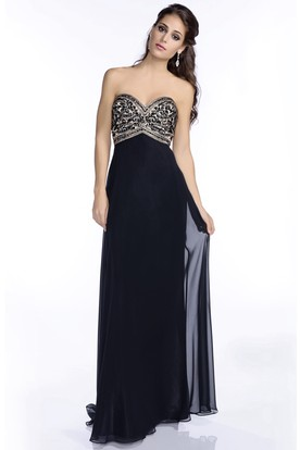 00134df94ad Sweetheart Column Chiffon Floor Length Prom Dress With Jeweled Bust ...