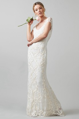 Sheath V-Neck Cap-Sleeve Lace Wedding Dress With Embroidery ... 0c6074f260c4
