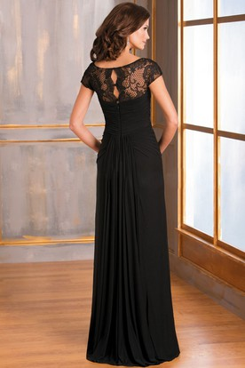 eb89354c10a ... Cap-Sleeved Long Ruched Mother Of The Bride Dress With Illusion Lace  Neckline
