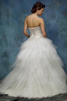 aa895c251a074 ... A-Line Ball-Gown Sweetheart Floor-Length Sleeveless Cascading-Ruffle  Tulle Wedding