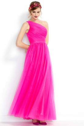 8df7186aeb3 A-Line Floor-Length One-Shoulder Ruched Sleeveless Tulle Bridesmaid Dress