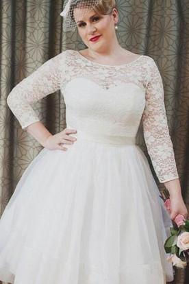 eb526b74fd22 ... Plus Size Vintage Style Scoop Neckline 3-4 Long Sleeve Lace Tea Length  Bridal Gown