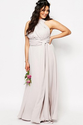 Halter Sleeveless Ruched Chiffon Bridesmaid Dress With Split Front