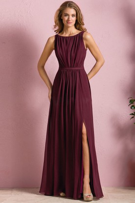 Sleeveless Bateau Neck A Line Bridesmaid Dress With Front And Pleats