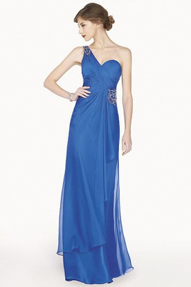 Crystal Single Strap Chiffon Long Prom Dress With Side Drape And Back Keyhole