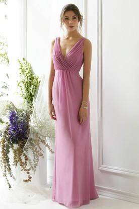 bde22979949 Ruched V-Neck Sleeveless Chiffon Bridesmaid Dress With Bow ...