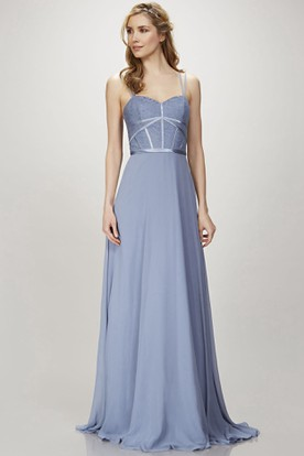 A Line Spaghetti Liqued Floor Length Sleeveless Chiffon Bridesmaid Dress With Zipper Back