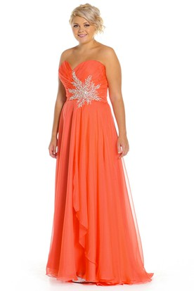 cb2c665aae A-Line Sleeveless Criss-Cross Sweetheart Long Chiffon Prom Dress With  Draping And Appliques ...