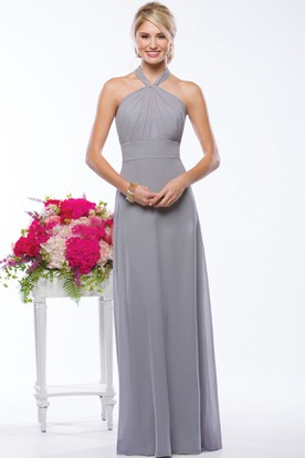 Halter Long Bridesmaid Dress With Pleats And Open Back