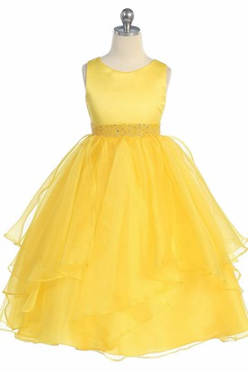 Yellow flower girl dresses flower girl dresses shop by color tea length beaded tiered sequinsorganza flower girl dress with sash mightylinksfo