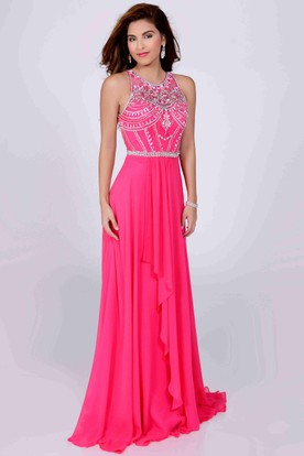 8bd24e2e8ff Jeweled Neck Sleeveless A-Line Chiffon Prom Dress With Front Draping ...