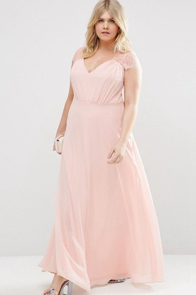 4fadb1f73f9 Sheath V-Neck Cap-Sleeve Long Chiffon Bridesmaid Dress With Illusion ...