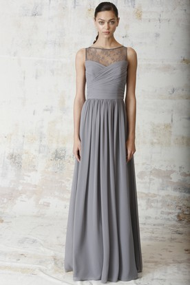 Floor Length Criss Cross Sleeveless Bateau Neck Chiffon Bridesmaid Dress