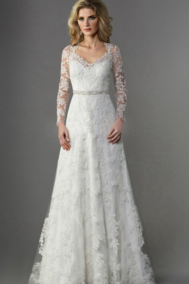 Traditional wedding dresses traditional wedding gowns ucenter long sleeved v neck a line long wedding dress with illusion appliqued sleeves junglespirit Images
