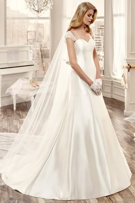 bec63ac8316 Sweetheart Cap-Sleeve Long Wedding Dress With Large Back Bow And Brush  Train ...
