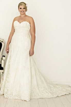 Sweetheart Lace Plus Size Wedding Dress With Lace Up ...