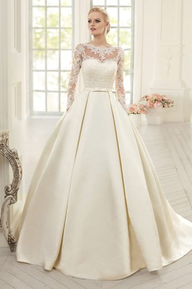 Ball Gown Floor-Length Jewel Long-Sleeve Corset-Back Satin Dress With  Appliques ... 48144a7ce