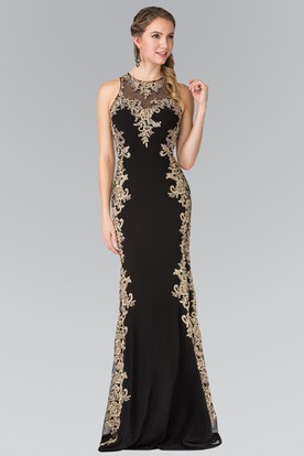 7078a89c274 Sheath Long Jewel-Neck Sleeveless Jersey Keyhole Dress With Appliques ...