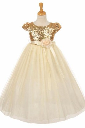 Short Fl Empire Tulle Sequins Flower Dress With Sash