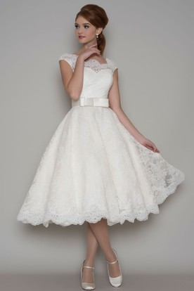 Tea Length A Line Cap Sleeve Square Neck Ribboned Lace Wedding Dress