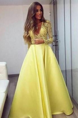 Stunning Yellow Long Sleeve 2018 Prom Dress V-Neck Lace ...