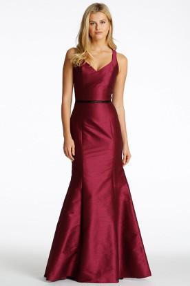 Mermaid Jeweled Stred Satin Bridesmaid Dress