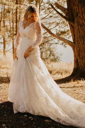 93b4c5687 Elegant Country Style Lace A-line V-neck Illusion 3-4 Sleeve Wedding ...