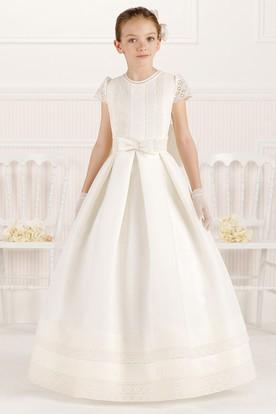 59cd4eeefa9 A-Line Scoop-Neck Floor-Length Short-Sleeve Lace Satin Flower Girl Dress