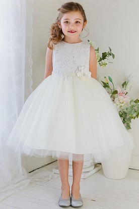 9053935e52 Floral Tea-Length Tiered Tulle Lace Flower Girl Dress