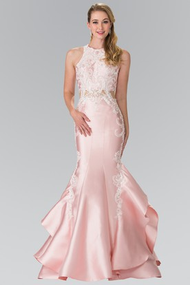 85302c515651 Mermaid Long Jewel-Neck Sleeveless Satin Dress With Appliques And Draping  ...
