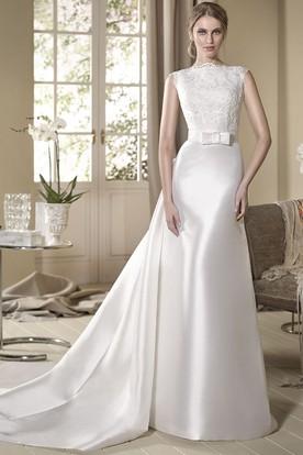 A Line Appliqued Floor Length Sleeveless Jewel Neck Satin Wedding Dress ...