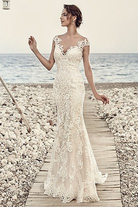 Sheath Cap Sleeve V Neck Floor Length Lace Wedding Dress With Liques And
