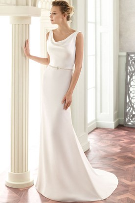 Floor Length V Neck Jeweled Satin Wedding Dress With Brush Train And Back
