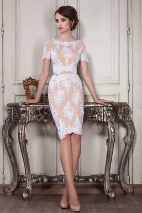 2bfe972f3 Sheath Knee-Length Jewel Short Sleeve Lace Appliques Zipper Dress