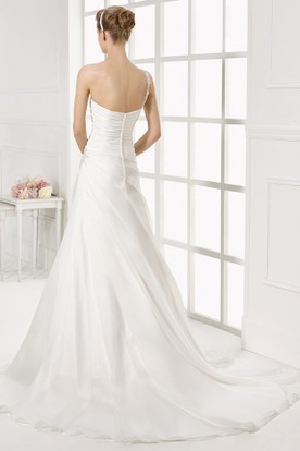 e79bc2611b ... One-Shoulder Long Side-Draped Chiffon Wedding Dress With Court Train  And V Back