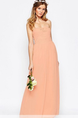 Ankle Length Sheath Ruched Strapless Chiffon Bridesmaid Dress