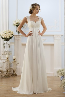 690f1e726bc8 A-Line Long Cap-Sleeve Keyhole Chiffon Dress With Lace ...