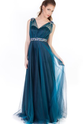 4925cf63 A-Line Scoop-Neck Beaded Sleeveless Floor-Length Tulle&Satin Prom Dress  With Pleats ...