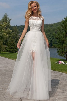 Detachable wedding dresses dresses with detachable skirts sleeveless scoop neck maxi tullelace wedding dress with keyhole junglespirit Images
