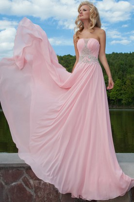 Pink and Black Strapless Long Prom Dresses Under 200