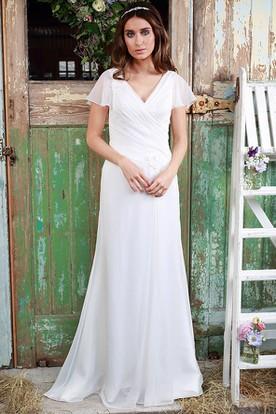 5c604c5d19be Sheath V-Neck Poet-Sleeve Chiffon Wedding Dress With Criss Cross ...